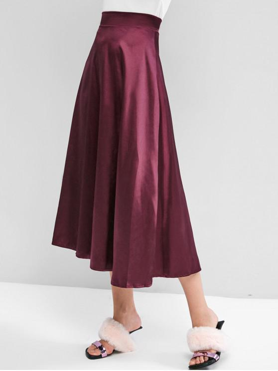 affordable Solid Back Zipper Silky Maxi Skirt - RED WINE S