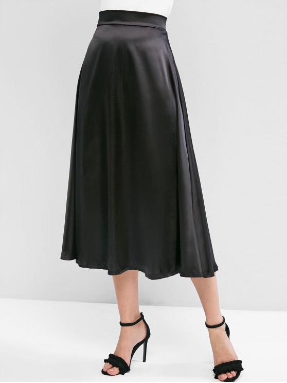 new Solid Back Zipper Silky Maxi Skirt - BLACK XL
