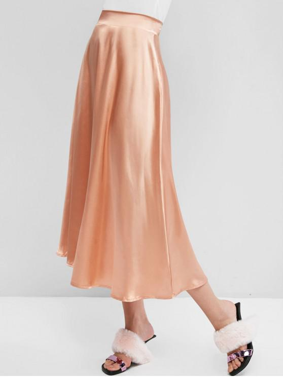 outfits Solid Back Zipper Silky Maxi Skirt - APRICOT S