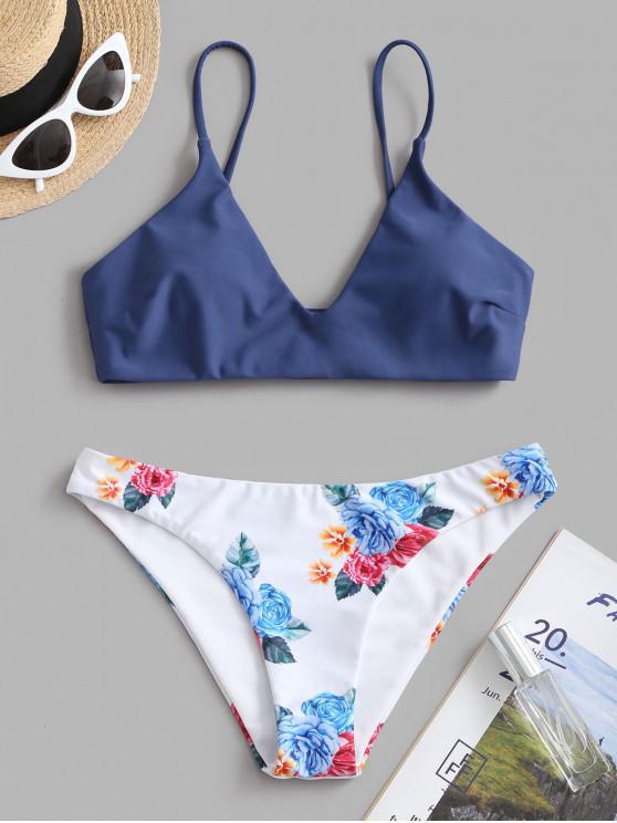 trendy ZAFUL Floral Leaf Print Bikini Set - LAPIS BLUE XL