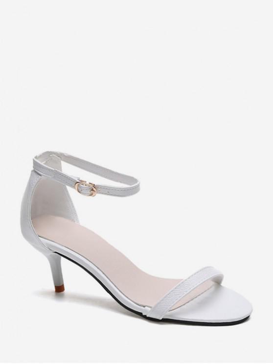 fashion One Strap Low Heel Ankle Strap Sandals - WHITE EU 38