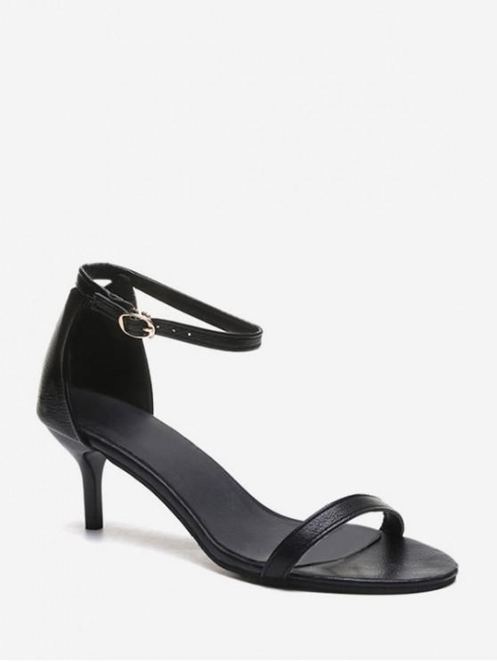 chic One Strap Low Heel Ankle Strap Sandals - BLACK EU 35