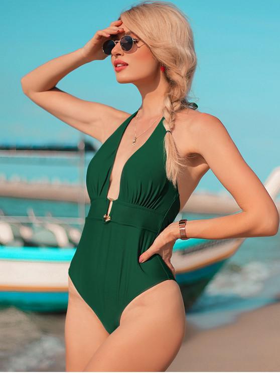 womens ZAFUL U-bar Halter One-piece Swimsuit - MEDIUM SEA GREEN S