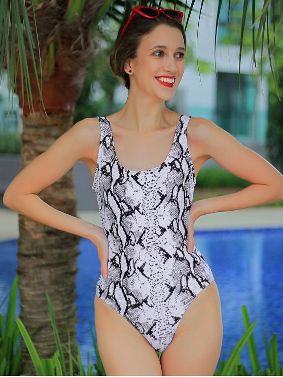ZAFUL Snakeskin Pescoço da colher uma peça Swimsuit - Multi-A XL