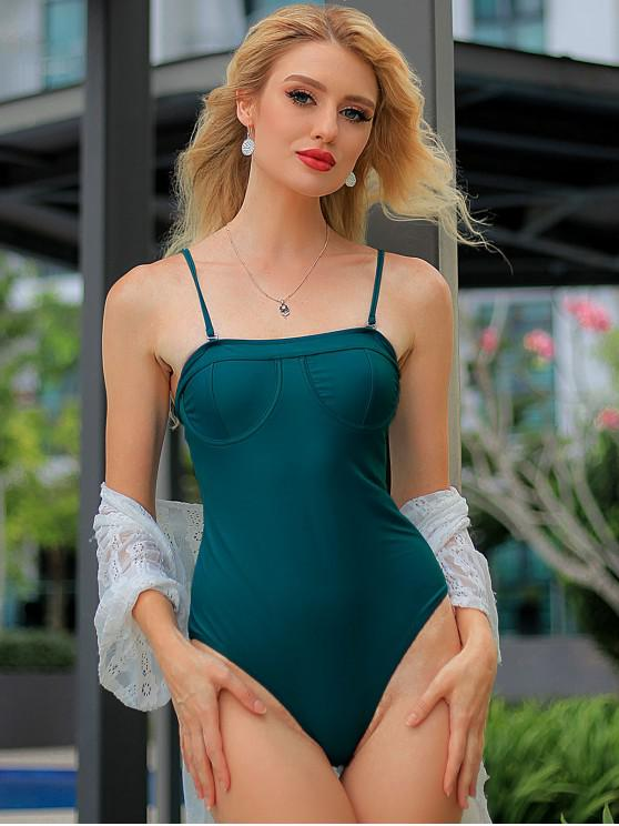 ZAFUL Underwire Cami uma peça Swimsuit - Azul pavão S