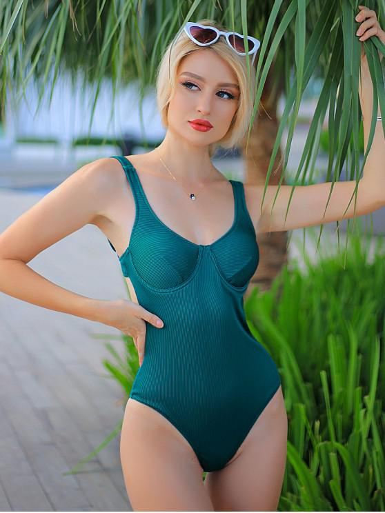 womens ZAFUL Textured Ribbed Underwire One-piece Swimsuit - PEACOCK BLUE S