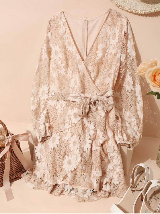 ZAFUL Цветочный принт А-силуэт Кружевное Платье - Сакура розовый XL