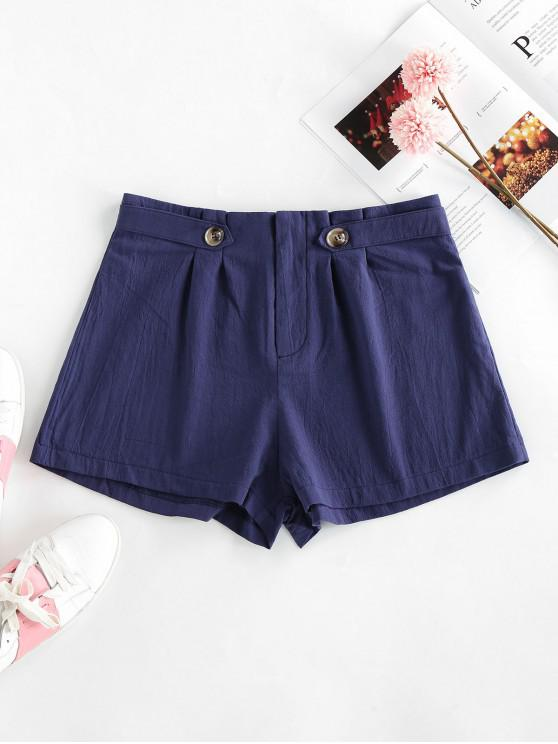 hot ZAFUL Pleated-detail Cotton Shorts - CADETBLUE S