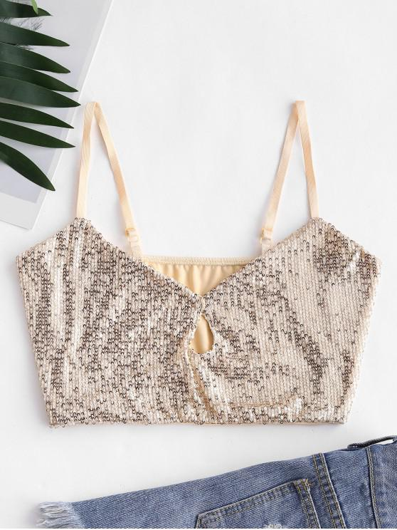outfits Glitter Sequined Keyhole Crop Cami Top - GOLD L