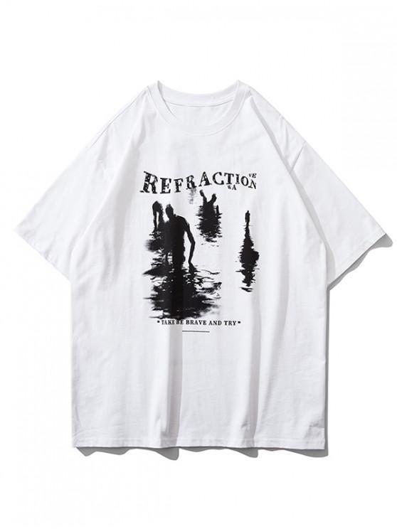 Grafisches Text Druck Kurzarm T-Shirt - Weiß S