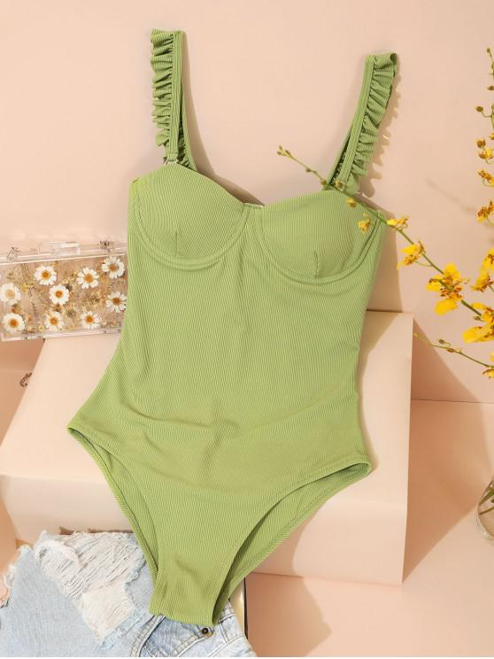 chic ZAFUL Underwire Lettuce Trim Ribbed One-piece Swimsuit - LIGHT GREEN XL