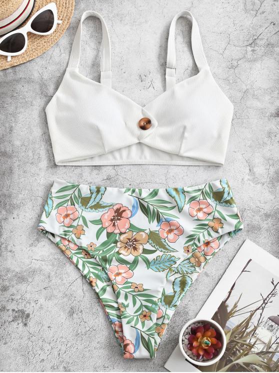 ZAFUL Maillot de Bain Tankini Côtelé Fleur avec Bouton à Taille Haute - Blanc XL