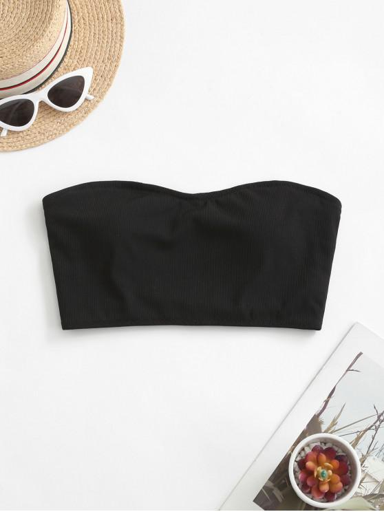 shops ZAFUL Ribbed Bandeau Swim Top - BLACK M