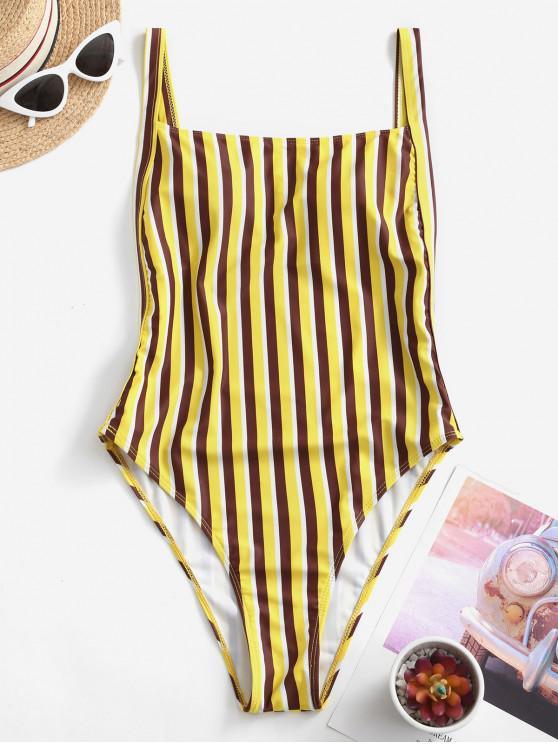 hot ZAFUL Striped High Cut Drop Armhole One-piece Swimsuit - YELLOW XL
