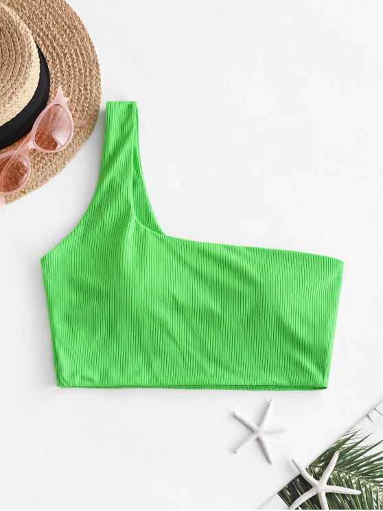 ZAFUL One Shoulder Ribbed Cropped Bikini Top - الأخضر الأصفر M