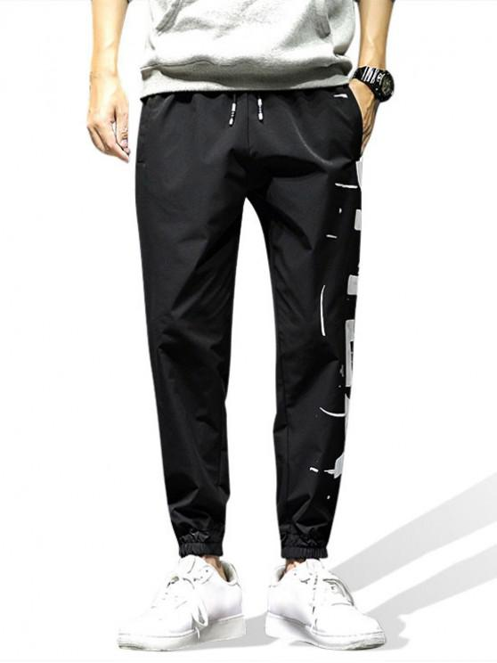 affordable Graphic Printed Casual Jogger Pants - BLACK 2XL