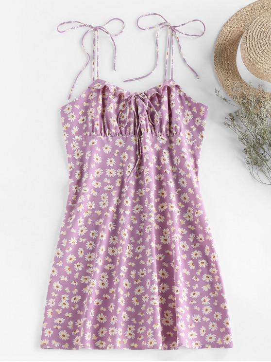 ladies ZAFUL Daisy Print Tie Shoulder Ruffle Mini Dress - MAUVE XL