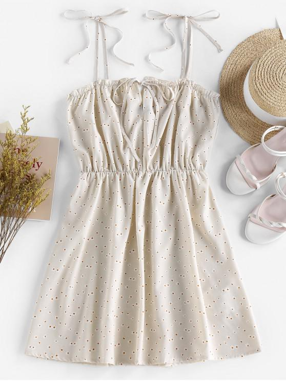 womens ZAFUL Tie Ditsy Print Sundress - LIGHT YELLOW M