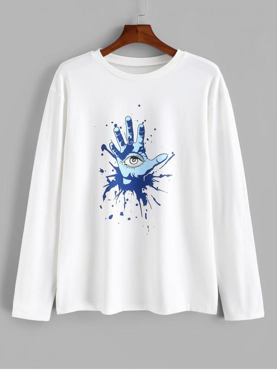 online Hand Eye Printed Long Sleeves T-shirt - WHITE 2XL