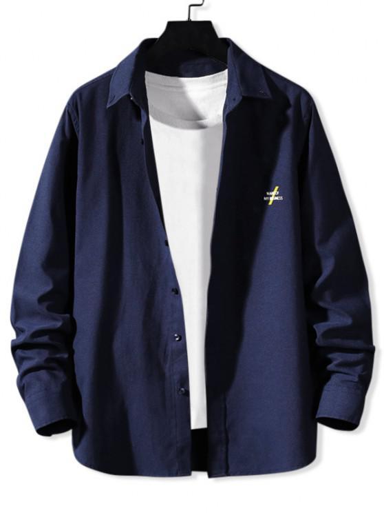 Solid Tiny Letter Print Long Sleeve Button Shirt - طالبا الأزرق 3XL
