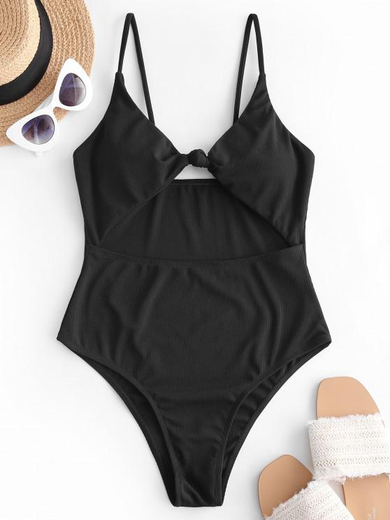 women ZAFUL Ribbed Knot Cut Out One-piece Swimsuit - BLACK M
