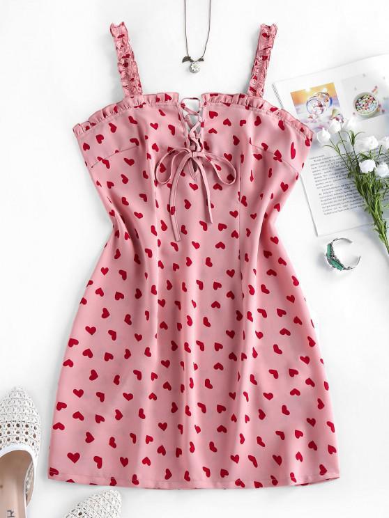 affordable ZAFUL Heart Print Lace Up Ruffle Mini Dress - LIPSTICK PINK S