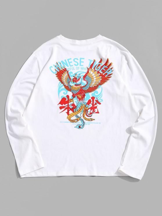 ZAFUL T-Shirt mit Grafikdruck und Langen Ärmeln - Weiß S