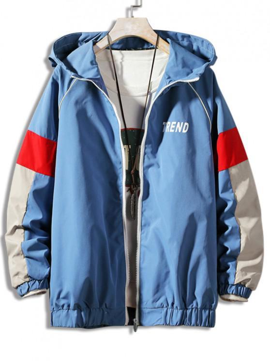 Letter Print Colorblock Raglan Sleeve Hooded Jacket - أزرق 3XL
