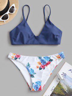 ZAFUL Set De Bikini Con Estampado De Hojas Florales - Lapislázuli M