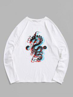 ZAFUL T-shirt Motif De Dragon à Manches Longues - Blanc 2xl
