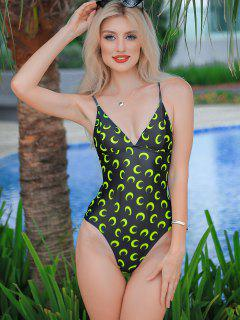 ZAFUL Moon Print Lace Up High Cut One-piece Swimsuit - Green Yellow S