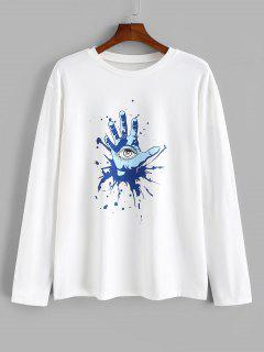 Hand Eye Printed Long Sleeves T-shirt - White 2xl