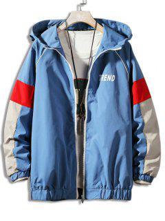 Letter Print Colorblock Raglan Sleeve Hooded Jacket - Blue 3xl