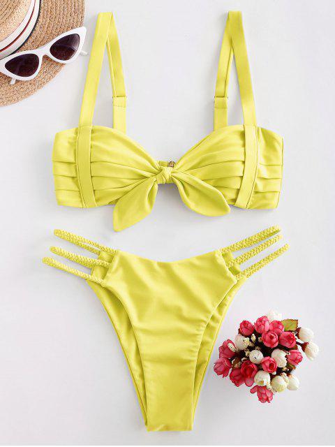 ZAFUL Bikini de Tiras Trenzado Plisado - Amarillo L Mobile