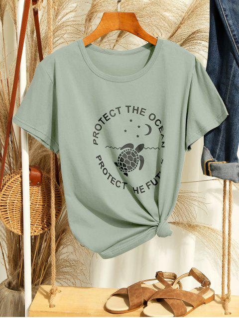 new Ecological Slogan Graphic Short Sleeve Tee - MULTI-B L Mobile