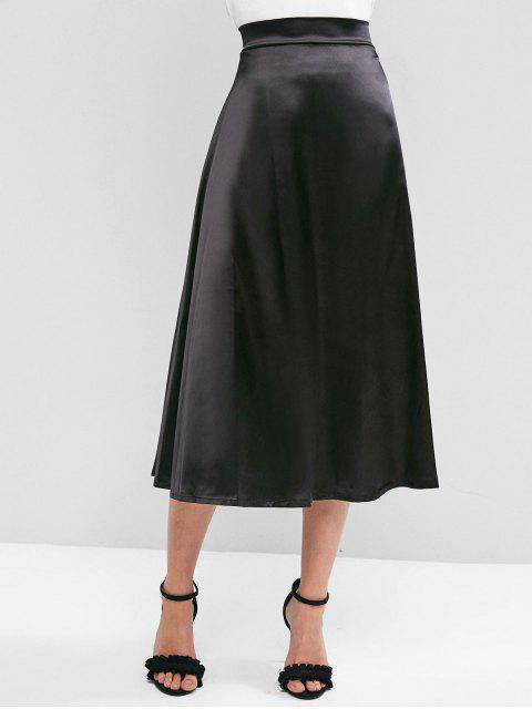 Maxi Falda Sedosa con Cremallera en Espalda de Color Sólido - Negro XL Mobile