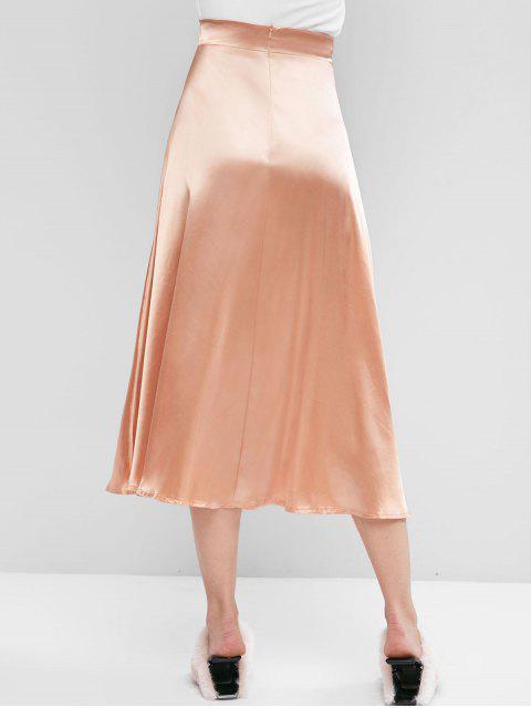 Maxi Falda Sedosa con Cremallera en Espalda de Color Sólido - Albaricoque S Mobile