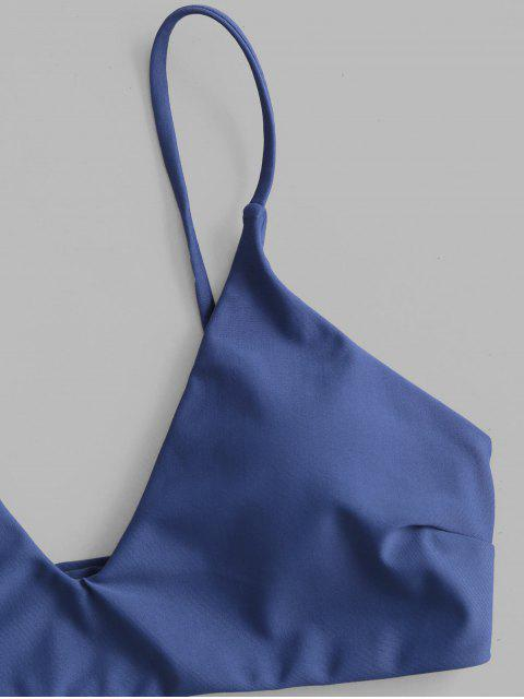 shops ZAFUL Floral Leaf Print Bikini Set - LAPIS BLUE L Mobile