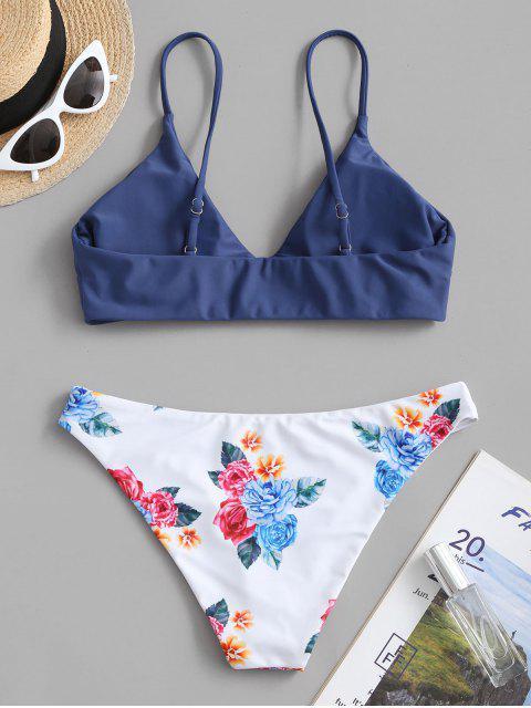 best ZAFUL Floral Leaf Print Bikini Set - LAPIS BLUE M Mobile