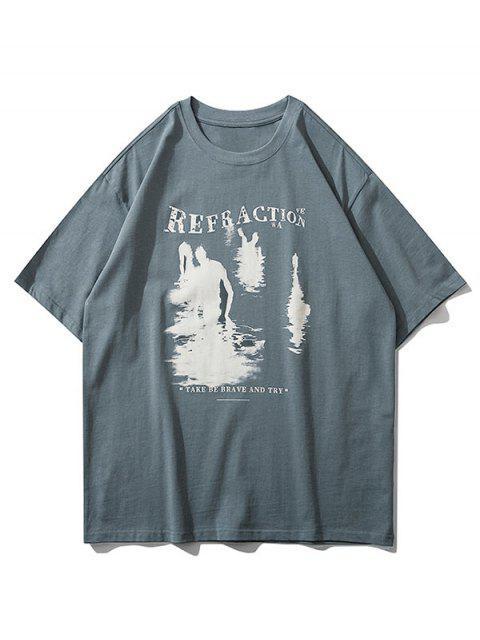 Camiseta con Estampado Gráfico de Texto - Gris Pizarra Oscuro L Mobile