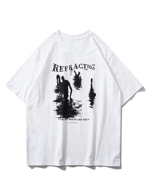 T-Shirt a Maniche Corte con Grafica Stampata Slogan - Bianca S Mobile