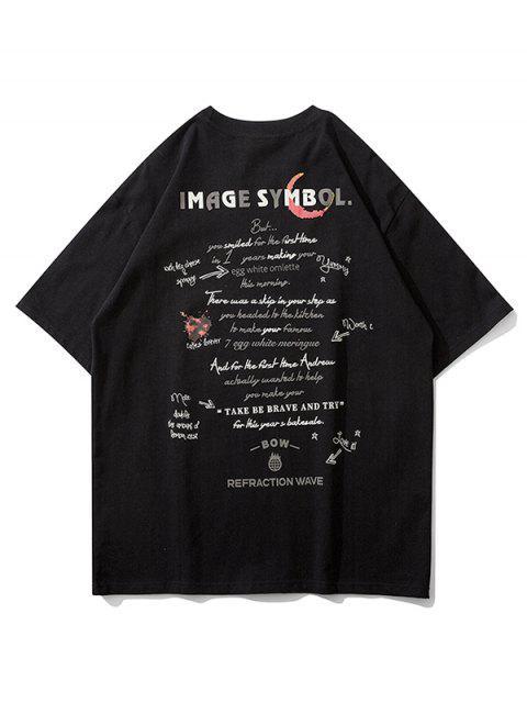 Camiseta con Estampado Gráfico de Texto - Negro L Mobile