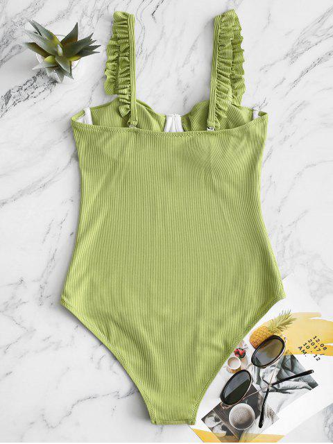 latest ZAFUL Underwire Lettuce Trim Ribbed One-piece Swimsuit - LIGHT GREEN S Mobile