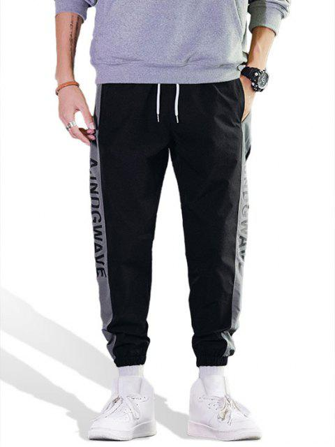 trendy Letter Pattern Colorblock Casual Jogger Pants - GRAY M Mobile