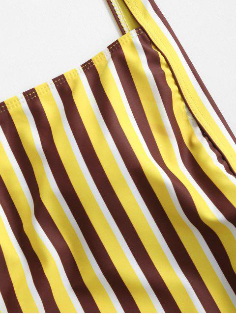 online ZAFUL Striped High Cut Drop Armhole One-piece Swimsuit - YELLOW M Mobile