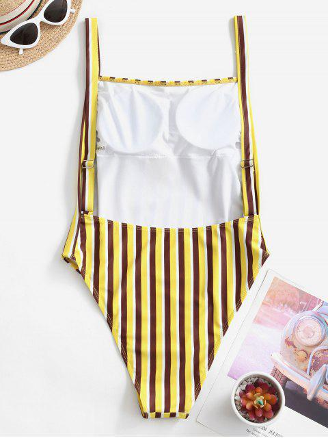 new ZAFUL Striped High Cut Drop Armhole One-piece Swimsuit - YELLOW L Mobile