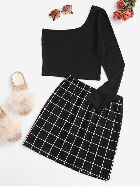 fancy Windowpane Check One Shoulder Two Piece Suit - BLACK M Mobile