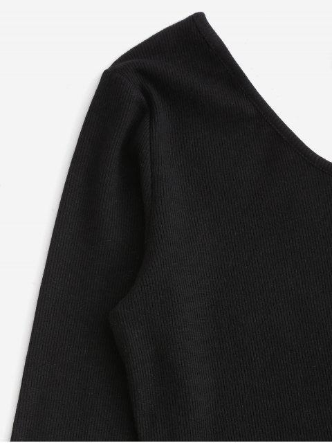 shop Windowpane Check One Shoulder Two Piece Suit - BLACK XL Mobile