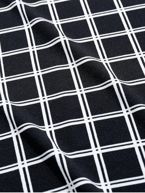 T-shirt de Mangas Curtas Padrão de Xadrez - Preto 2XL Mobile