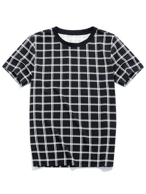 Plaid Print Short Sleeves T-shirt - أسود 2XL Mobile